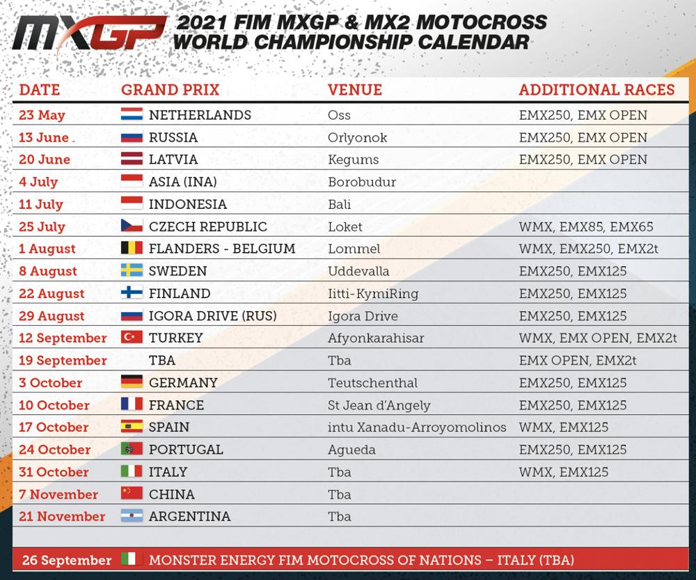 Updated calendar for 2021 MXGP season