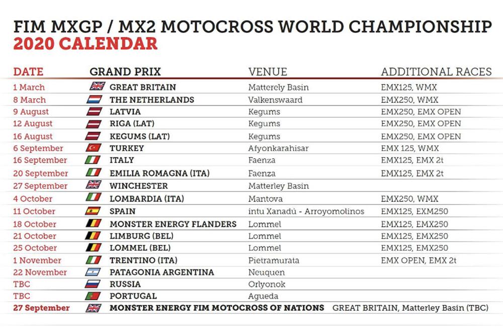 Fresh MXGP calendar released
