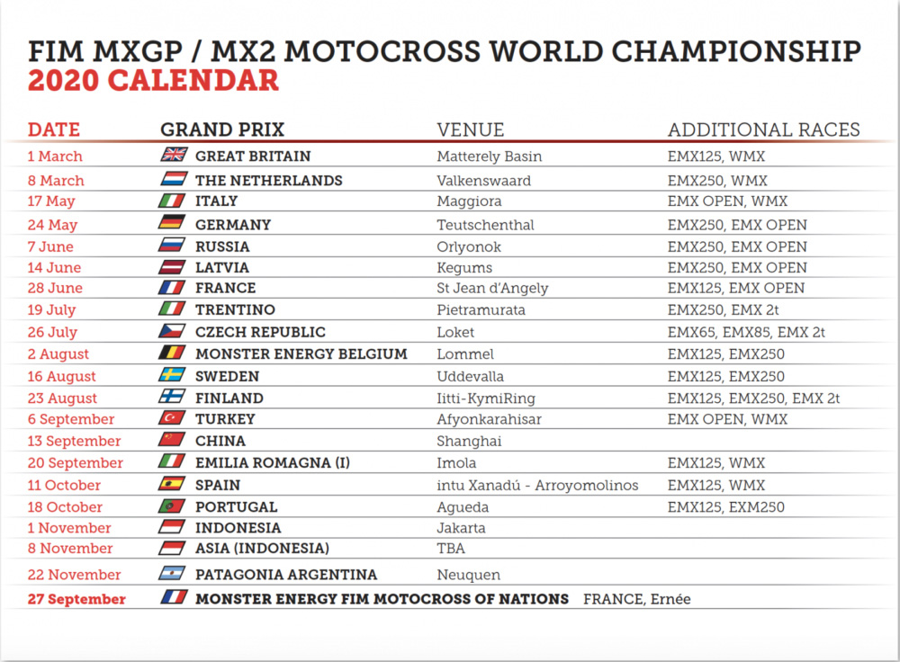 More changes to MXGP calendar
