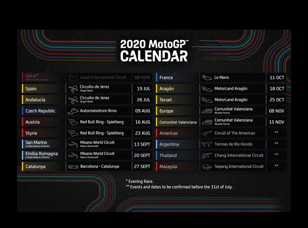 Revised calendar for 2020 MotoGP