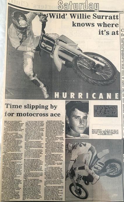 Newspaper clipping from 1989, featuring 'Wild' Willie Surratt