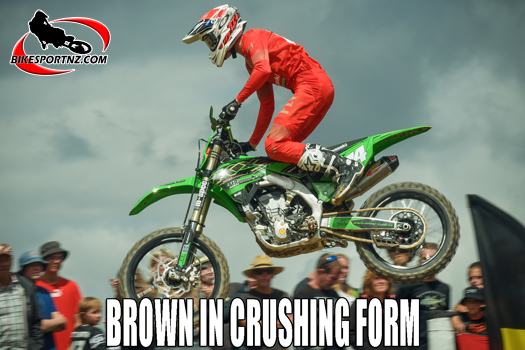 Tyler Brown romps to hat-trick of wins at Woodville MX