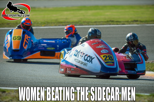 Tracey Bryan and Jo Mickleson light up the sidecar field