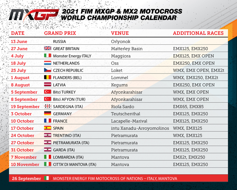 Changes made to the Motocross World Championships calendar