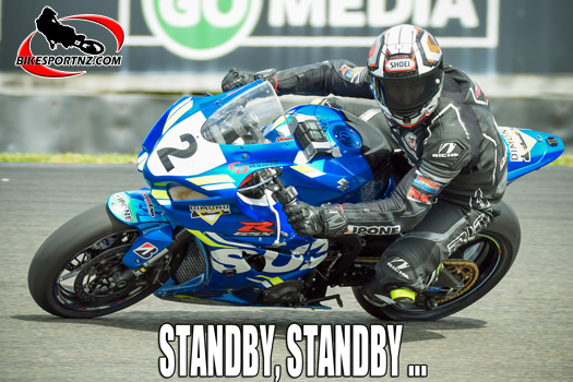 Taupo's Scotty Moir (Suzuki GSX-R1000), ready to race again at a moment's notice. Photo by Andy McGechan, BikesportNZ.com